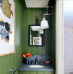 Green Interiors, Space Interiors, Bath Design, Lighted Bathroom Mirror, Hall Design, House Bathroom, Stone Bathroom, Beata Heuman, Stone Backsplash