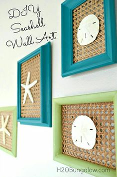 Frames + basket weave material + shells + paint  + glue = CUTE!