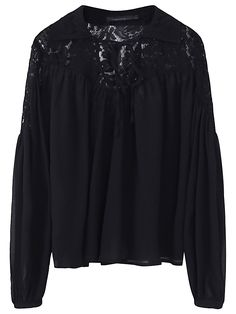 Women Sexy V-Neck Shirts Black Sheer Blouses Long Sleeve Chiffon Top