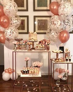 Rose Gold Inspiration for your party! Check out our planning guide for ideas on decor, beauty, dresses and more! Sweet 16 Party Decorations, 30th Birthday Decorations, Sweet 16 Themes, Gold Wedding Decorations, Gold Wedding Theme, Décoration Rose Gold, Rose Gold Theme, Gold Dessert Table, Dessert Table Birthday