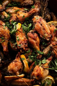 NYT Cooking: These meaty out-of-the-ordinary roasted wings are infused with lots of lemon, garlic and rosemary, then roasted on a bed of fingerling potatoes. Use a large roasting pan that's at least 3 inches deep, or a big earthenware gratin dish, or a couple of Pyrex lasagna pans side by side. The lemony chicken and potatoes are delicious hot and crisp, but just as good at cool room temperature.