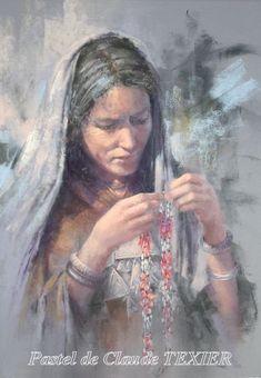 Portrait Pastel - Le collier rouge - 67x47 cm