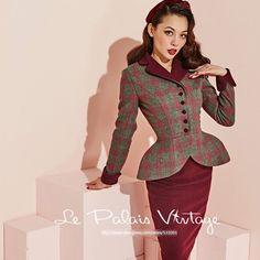 52ce256f52c La Palais Vintage Elegant Lattice Red Pencil Skirt Set