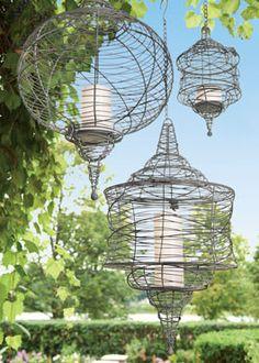 Hanging Wire Lanterns - Acacia
