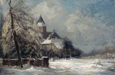Louis Apol (Dutch painter) 1850 - 1936 A Church in a Snow Covered Landscape, s.d. oil on canvas 41 x 61 cm. signed l.l. private collection