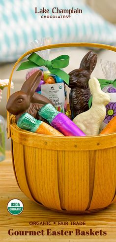 The large Country Bunny Easter Gift Basket is loaded with organic chocolate bunnies, filled eggs, carrots & flowers. Perfect for the whole family! Chocolate Crafts, Chocolate Flowers, Magic For Kids, Chocolate Easter Bunny, Easter Gift Baskets, Easter Crafts For Kids, Craft Stick Crafts, Gifts For Kids, Chocolates
