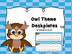 3 Owl Theme Deskplates on a blue check background.  See thumbnails for what they look like. Owl Theme Word Wall and 100 Fry WordsWord-Wall Letters and 100 Fry Words -Yellow and White Chevron