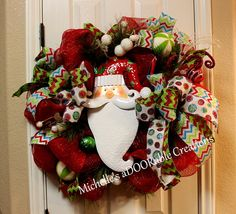 Check out this item in my Etsy shop https://www.etsy.com/listing/208536232/santa-christmas-wreath-christmas-wreath