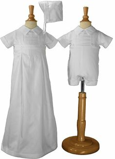 Amazon.com: Boys 100% Cotton Convertible Christening Baptism Set with Hat: Clothing