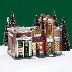 Village Idiotz - Department 56 - Christmas In The City Series - Riverside Row Shops - Christmas Village Collections, Christmas Village Display, Christmas Village Houses, Christmas Villages, Putz Houses, Gingerbread Houses, Christmas In The City, Cabin Christmas, A Christmas Story