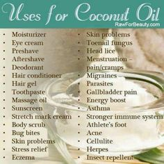 Coconut oil is like the best thing in the world! There are so many uses for it and it works great!!