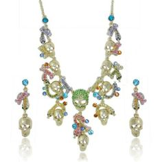 "Ever Faith Halloween Skull Snake Animal Multi Austrian Crystal Necklace Earring Set Ever Faith. $28.95. It is good for your personal jewelry collection.. Chain Size: 18.90"" inside circumference length Pendant Size: 7.48"" by 2.76"" Earring Size: 2.09"" by 0.55"". High quality and good handcraft"