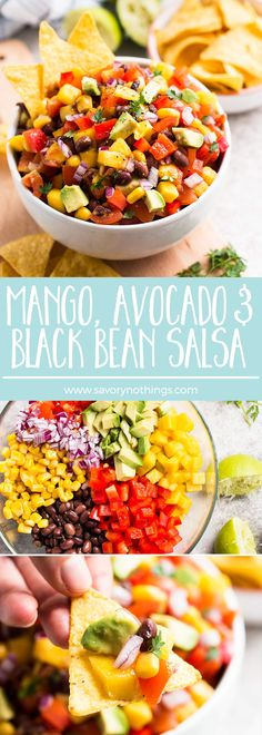 This easy Avocado, Mango and Black Bean Salsa is full of fresh and healthy vegetables and whips up in no time. A great healthy party dip recipe! Pin this clean eating recipe for later. Party Dip Recipes, Appetizer Recipes, Salad Recipes, Appetizers, Easy Party Dips, Mexican Food Recipes, Vegetarian Recipes, Cooking Recipes, Healthy Recipes
