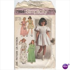 Simplicity 7954 Sewing Pattern Girls Dress in 2 Lengths & 5 Styles Size 7 8 Used on eBid Canada