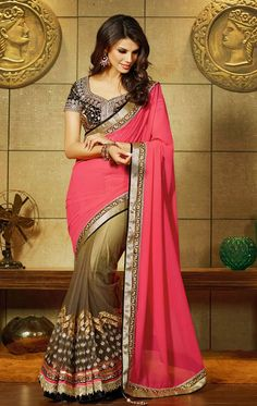 Show details for Butta Brown and Salmon Color Saree for Wedding