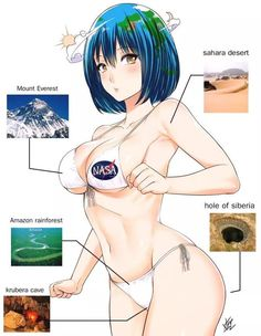 Earth-Chan Diagram by on DeviantArt Anime Sexy, Chica Anime Sensual, Anime Girl Hot, Thicc Anime, Anime Boys, Kawaii Anime, Anime Art, Amazon Meme, Games Memes