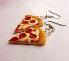 pepperoni pizza slice earrings polymer clay by ScrumptiousDoodle, $15.00