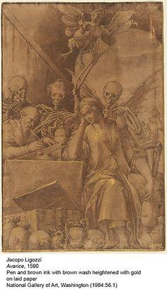 Avarice, 1590 ~ by Jacopo Ligozzi 4 notas Vanitas, Grand Duc, Dance Of Death, Creepy Pictures, Danse Macabre, National Gallery Of Art, Renaissance Art, Pencil Illustration, Memento Mori