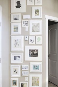 narrow gallery wall- I have lots of these walls. Cute idea.