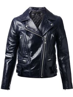 Une veste en cuir façon vinyle: veste en cuir ciré, Victoria Beckham, 1195€