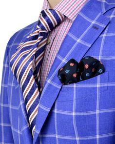 Kiton | Blue with White Windowpane Sportcoat | Apparel | Men's