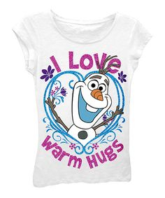Take a look at the White Frozen 'I Love Warm Hugs' Tee - Girls on #zulily today!