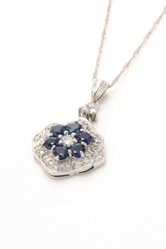 Vintage Estate Jewelry Platinum Sapphire & Diamond Pendant Necklace - 0.40 ctw by LXR on @HauteLook