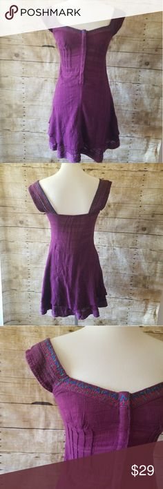 Free People Embroidered Purple Tunic Dress Good pre-owned condition Free People boho summer dress. Size 2. Snap front with layered skirt. Some seperation at hem as shown.   Armpit to armpit flat: 14 in Length: 31 in  Thank you for checking out my closet! Free People Dresses Mini