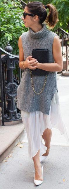 #fall #thistimetomorrow #outfits | Grey Knit + Midi White Dress