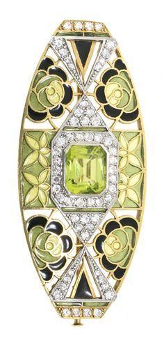 An Art Deco gold, platinum, plique-à-jour and basse taille enamel and peridot…