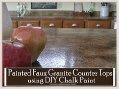 Kammyu0027s Korner: Painted Faux Granite Counter Tops {With DIY Chalk Paint}  #FarmhouseKitchenCounterTops