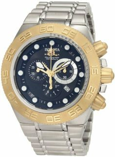 Invicta Men's 1528 Subaqua Sport Chronograph Black Dial Stainless Steel Watch Invicta. Save 85 Off!. $195.00. Chronograph functions with 60 second, 30 minute and 1/10th of a second subdials; date function. Flame-fusion crystal; brushed and polished stainless steel case and bracelet. Water-resistant to 100 m (330 feet). Black dial with gold tone hands and white hour markers; luminous; 18k gold ion-plated stainless steel unidirectional bezel, crown and pushers. Swiss quartz movement
