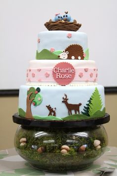 Baby Shower Cake for a friend at work. Design is based on her invitation. I made the mushrooms and acorns in the stand also.