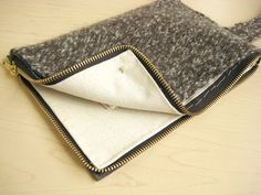 minimalist wool and leather clutch how to