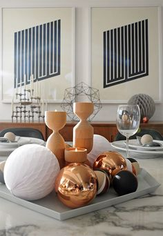 Obsessilicious Christmas lunch table setting with a copper, black, white, grey and wood colour scheme.