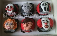 Horror movie cupcakes...all but It...hate evil clowns....nope hate all clowns!