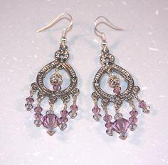 Pink Swarovski crystal and silver chandelier by RedsHGDesigns, $25.00