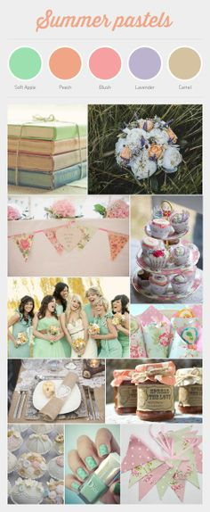 My summer pastel wedding theme, green, peach, pink, lavender and brown. Colour theme designed and collated by Mandy Wong - www.mandywongdesign.co.uk