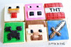 Minecraft Cookies by rollinindough.etsy.com