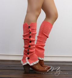 Coral Button Down Boot Socks Knitted Leg warmers  #bootsocks #legwarmers #boottoppers  by myfashioncreations, $28.00