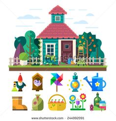 Garden and orchard. House, garden, trees, flowers bed, tools, watering, light, basket, fruit, vegetables, birdhouse. Vector flat illustration and icon set