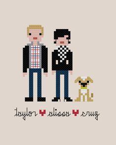 The *Original* Custom PATTERN Pixel People Portrait - The Happy Couple