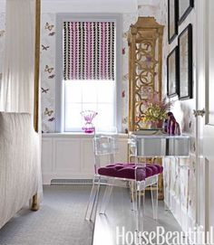 butterfly wallpaper for homes and rooms New York Apartments, English Interior, World Decor, Old World Style, Butterfly Wallpaper, Home Wallpaper, Valance Curtains, Decorating Your Home, Beautiful Homes