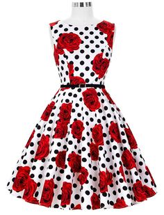 Audrey Hepburn Inspired 50s Retro Style Rosy Polka Dot Vintage Inspired Dress