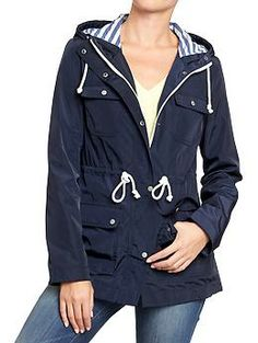 Rain Coat! Merona® Women's Stripe Anorak Jacket -Cream | Cause We ...
