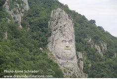 Stunning River Scenes The Iron Gates.  This is the face of Decebalus, last prince of the Dracians (87-106 AD).
