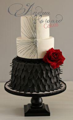Black, White & Red Cake