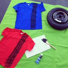 "Pit Crew t shirts for cars themed birthday. Using acrylic Paint, you have to drape the shirt over the spare tire to get all the 'tread'.   Back of the shirts showed ""Pit Crew"" Iron on letters from Michaels."