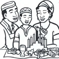 kwanzaa coloring sheets holding traditional tent preparing for holiday kwanzaa coloring page