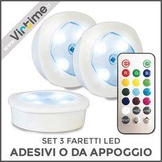 """Set 3 Faretti a Led adesivi o da appoggio. Luce a LED RGB. Accensione Touch o con Telecomando. Alimentazione: 3 Pile AA. Confezione: Blister """"Virtime"""" Dimensione: 9 x 9 x 3 cm Ref.: S30107/00  #Virtime #virtimehome #italy #italiandesign #interiordesign #decoring #house #homeart #homedecor #tools #creative #detail #decoration #designideas #nofilter #unique #furniture #materials #decorating #instadecor #designinspirations #lampada #luce #scrivania #lamp #light #desk #led #rgb #libro #book"""